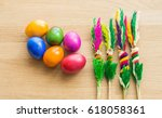 easter colorful painted eggs... | Shutterstock . vector #618058361