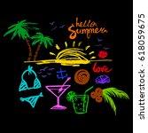 set of summer symbols and...   Shutterstock .eps vector #618059675