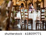 wooden chairs decorated with... | Shutterstock . vector #618059771