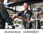 friendly bartender serving... | Shutterstock . vector #618060824