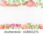 floral frame with beautiful... | Shutterstock . vector #618061271