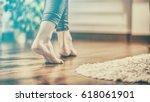floor heating. young woman... | Shutterstock . vector #618061901