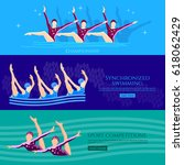 synchronized swimming banners... | Shutterstock .eps vector #618062429