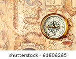 old compass on ancient map. a... | Shutterstock . vector #61806265
