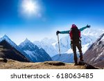 hiker at the top with backpack... | Shutterstock . vector #618063485