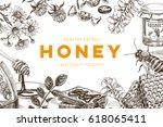 vector hand drawn honey... | Shutterstock .eps vector #618065411