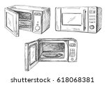 set microwave oven isolated on...   Shutterstock .eps vector #618068381