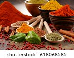 variety of spices on kitchen... | Shutterstock . vector #618068585