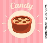 candy on pink background.... | Shutterstock .eps vector #618070895