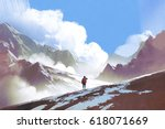 scenery of hiker with backpack... | Shutterstock . vector #618071669