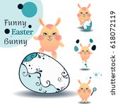 set of flat style easter... | Shutterstock .eps vector #618072119