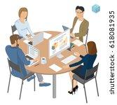 isometric people working in... | Shutterstock .eps vector #618081935