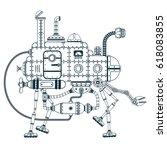 fantastic steampunk self... | Shutterstock .eps vector #618083855
