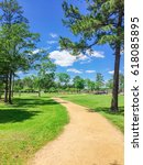 Small photo of Empty s-curved trail through grassy urban park with row of pine, oak trees during daytime, blue cloud sky in Humble, Texas, US. Unidentified cars are visible at the parking lot in the far left corner