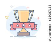 trophy with ribbon line icon | Shutterstock .eps vector #618087155
