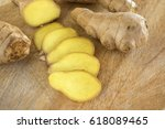 ginger on cutting board | Shutterstock . vector #618089465