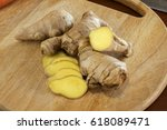 ginger on cutting board | Shutterstock . vector #618089471