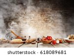 baking ingredients placed on... | Shutterstock . vector #618089681