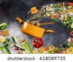 fresh vegetable in water splash ... | Shutterstock . vector #618089735