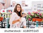 portrait pretty girl  having... | Shutterstock . vector #618095165