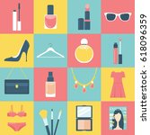 beauty and fashion flat vector... | Shutterstock .eps vector #618096359