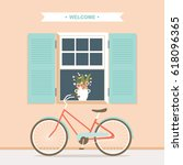 bicycle in front of open window ... | Shutterstock .eps vector #618096365