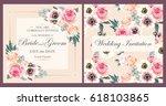 Stock vector vintage wedding invitation 618103865