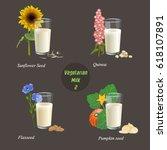 four types of vegetarian milk... | Shutterstock .eps vector #618107891
