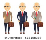 set. businessman. old man with... | Shutterstock .eps vector #618108389