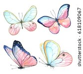 Stock photo collection watercolor of flying butterflies 618109067