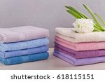 two stacks of colorful bath...   Shutterstock . vector #618115151