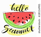 hello summer background with... | Shutterstock .eps vector #618116981