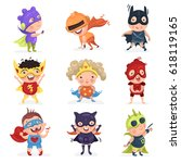 cute superhero kids | Shutterstock .eps vector #618119165