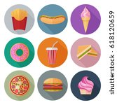 colorful fastfood flat icons... | Shutterstock .eps vector #618120659
