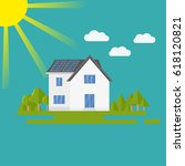 clean modern house with solar... | Shutterstock .eps vector #618120821
