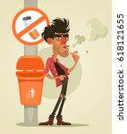 bad man character smoking under ... | Shutterstock .eps vector #618121655