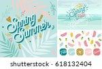 spring summer poster  banner in ... | Shutterstock .eps vector #618132404