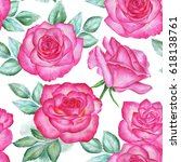 seamless floral pattern with... | Shutterstock . vector #618138761