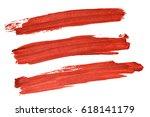 set of red acryl brush strokes... | Shutterstock . vector #618141179