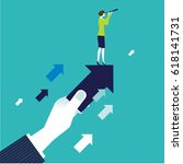 businessman's hand holding an... | Shutterstock .eps vector #618141731