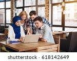 positive international students ... | Shutterstock . vector #618142649