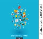 construction integrated 3d web... | Shutterstock .eps vector #618150485