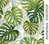 tropical pattern with large... | Shutterstock . vector #618155129