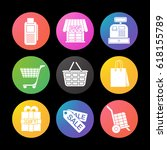 shopping color icons set. cash...