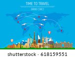 travel and tourism background.... | Shutterstock .eps vector #618159551