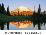 reflection of mt. rainier and...   Shutterstock . vector #618166679