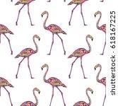 pink flamingo  illustration | Shutterstock . vector #618167225
