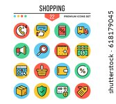 shopping icons. modern thin...