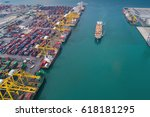 Small photo of Logistic port, vessel transportation and import, export business with boat and crane
