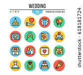 wedding icons. modern thin line ...